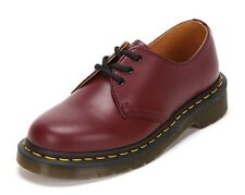 Dr Martens 3-Eye 1461 Cherry Red Smooth Leather Yellow Stitch Shoes UK3-11 NEW