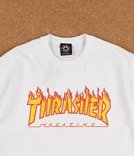 THRASHER Skateboard Magazine Flame Logo T-Shirt White Brand NEW Official Dealer