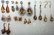 Lovely choice of new Amber earrings dangle or stud yellow & white gold plate