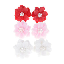 Pretty Faux Pearl Decorated Flower Earrings Women Fashion Ear Studs Jewelry Gift