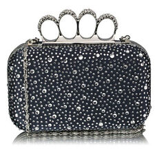 Ladies Women's Knuckle Rings Evening Clutch Bag Hard Case Wedding Party Purse