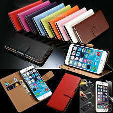 Genuine Real Leather Flip Wallet Case Cover For iPhone 8 Plus +HD Tempered Glass