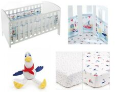 Breathable Baby Cot / Cotbed Bumper 2x Fitted Sheets+Toy By The Sea GIFT SET
