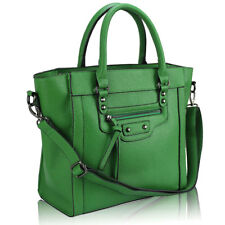 Women's Ladies Celebrity Style Green Bag Leather Style Tote Shopper Handbag