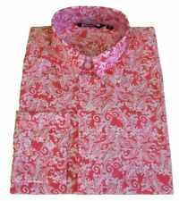 Shirt Red White Paisley Men's Button Down Long Sleeve Cotton Relco