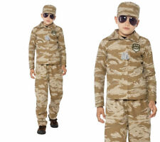 Desert Army Commando Boys Military Fancy Dress Costume Ages 4-12