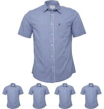 OFFERTA Onfire Mens Short Sleeve Gingham Checked Shirt Navy/White Small Chest 3