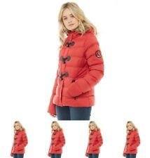 FASHIONS Brave Soul Womens Wizard Fur Trim Toggle Puffer Jacket Red UK 8 Euro 3