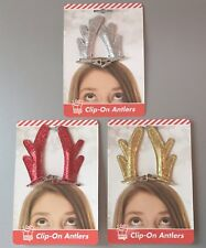 Festive Glittery Clip on Reindeer Antlers Fun Christmas Party Fancy Dress