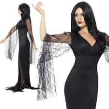 Ladies Morticia Costume Immortal Soul Vampire Outfit Witch Fancy Dress UK 8-22