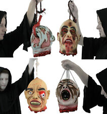 HANGING SEVERED HEAD RUBBER LATEX LIFE SIZE GORY HALLOWEEN PROP DECORATION