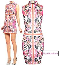 Womens Pink Floral Print Mini Dress Bodycon Polo Neck Xmas Evening Party Dresses