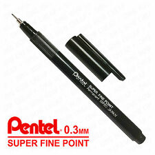 Pentel Super Punta Fine Pennarello indelebile - 0.3 Line - Black - MF50