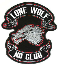 LARGE Embroidered Lone Wolf No Club Original Back PATCH