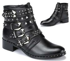 WOMENS MILITARY GOTH PUNK STRAPPY STUDDED MULTI BUCKLE BIKER ZIP ANKLE BOOTS