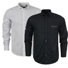 Mens Brave Soul Long Sleeve Plain Shirt With Chest Pocket NEW Sizes S-XL