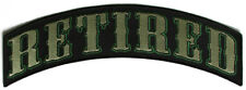Embroidered DOWN TURNED RETIRED Rocker Patch In Army Green Colors