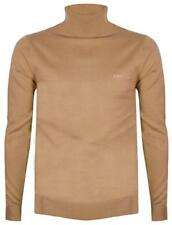 Mens Turtle Roll Neck Jumper Long Sleeve Biscuit Tan Knitted Cotton - Lambretta