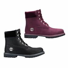Timberland 6 Inch Classic Velvet Waterproof Womens Red Black Ankle Boots UK 4-8