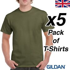 Mens Military Green T Shirt 5 Pack Gildan Heavy Cotton Tee Army Plain Cheap Work