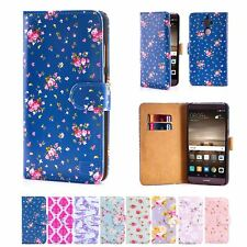 PU Leather Floral Design Book Wallet Case Cover For Huawei Mate 9