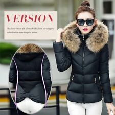 UK Winter Women Down Cotton  Padded Short Fur Collar Hooded Coat Quilted Jacket