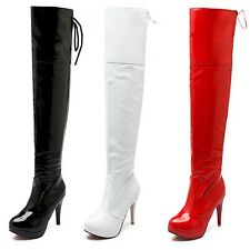 Wet look Long Boots womens high heels Vintage Sexy Platform over knee shoes lot