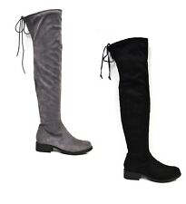 WOMENS LADIES THIGH HIGH LONG OVER THE KNEE BOOTS BIKER STRETCH TIE FAUX SUEDE