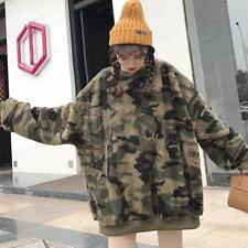 Donna Camouflage velluto swearshirt maglione pullover cappotto in pile OVERSIZE