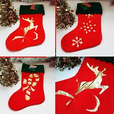 3x Christmas Stocking, Red Feel Fluffy Reindeer Star Candy Cane Xmas Tree Gift