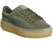 Womens Puma Suede Platform Trace Trainers OLIVE NIGHT VELVET ROPE Trainers Shoes