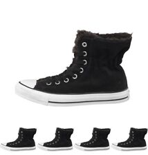 OFFERTA Converse Womens CT All Star Hi Suede Fur Trainers Black/White UK 3 Euro