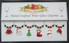 Silver-Enamel Christmas Themed Wine Glass Charms-Stocking Filler Secret Santa