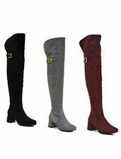 WOMENS LADIES THIGH HIGH LONG OVER THE KNEE RIDING BOOTS STRETCH LOW BLOCK HEEL