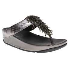 New Womens FitFlop Metallic Grey Cha Cha Leather Sandals Animal