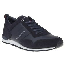 New Mens Tommy Hilfiger Blue Maxwell Leather Trainers Retro Lace Up