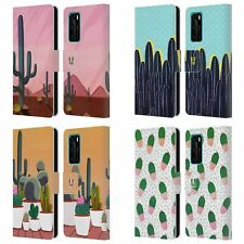 HEAD CASE DESIGNS CACTUS PRINTS LEATHER BOOK WALLET CASE COVER FOR HUAWEI PHONES