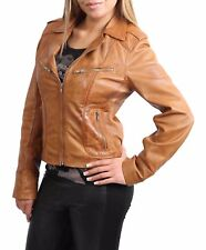 Ladies Leather Biker Jacket Slim Fit Lambskin Casual Zip up Style Kim Tan