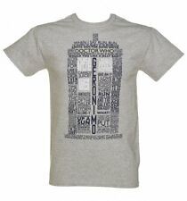 Official Men's Grey Marl Doctor Who TARDIS Quotes T-Shirt
