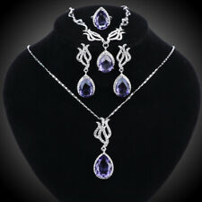 Women White Gold Plated CZ Gem Crystal Wedding Jewelry Sets Necklace Earrings
