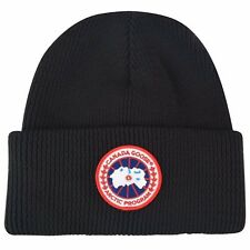 100% Authentic NEW Mens Canada Goose Ribbed Logo Beanie Hat Black
