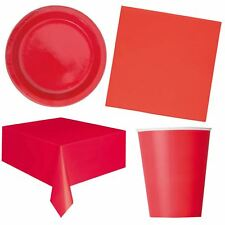 Ruby Red Birthday Party Tableware Valentines Catering Plates Cups Napkins