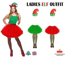 Ladies Tutu Elf Fancy Dress Costume Elf Tutu Stockings & Hat Christmas Outfit