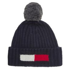 New Mens Tommy Hilfiger Blue Flag Acrylic/Wool/Cotton Beanie Bobble Hats