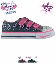 SALDI Skechers Twinkle Toes Shuffles Child Girls Trainers Black/Turq