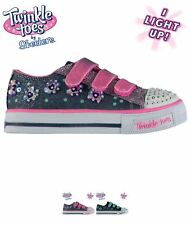 SALDI Skechers Twinkle Toes Shuffles Child Girls Trainers Denim/Pink