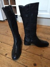 Black Leather Knee High Boots Low Heel By Alejandra Lappi Sz 3.5 (36)
