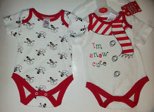 Baby Girl or Boy 2 pack Bodysuits with Snow Cute detail