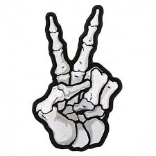 Embroidered Skeleton Peace Sign Patch