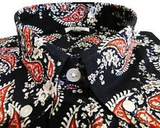 Shirt Dark Navy Black Red Paisley Men's Button Down Long Sleeve Cotton Relco